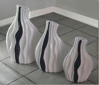 Dekovasen Set 3 Vasen Tischvasen Keramik 40cm - Madeira