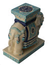 Elefant Tierfigur Dekofigur Keramik Teelicht Ständer blau weiss Diele 18cm