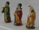 3x Chinesische altertümliche Dekofiguren Keramik 5cm