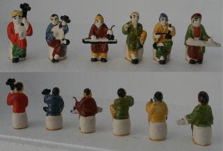 6x Chinesische altertümliche Dekofiguren Keramik 6cm