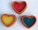 Herz Kerzenständer, Kerze Terracotta ca. 9 cm 3 Stück